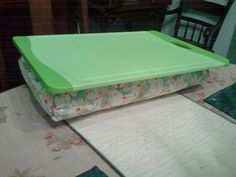 DIY lap-desk!.. use cutting board and quilters batting and some material! Cover the batting with the material using a hot glue gun and the use a staple gun the secure it on to the cutting board