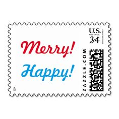 Merry! Happy! Postage - Christmas Hannukah stamp for holiday cards