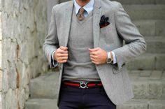 #menswear #dapper #street #style #gray #blazer #tie #pocketsquare #outfit #blue #pants #GentlemanF