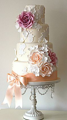 vintage Lace Blossom Cake