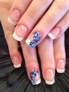 White French with blue freehand nail art