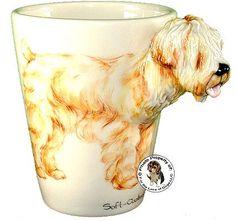 Wheaten Terrier Hand Painted Sculpted Ceramic Dog Mug