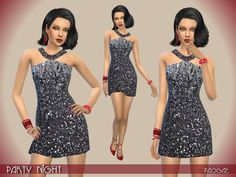The sims resource: party night dress by paogae Dress For Short Women, Short Dresses, Formal Dresses, Sims 4 Clothing, Female Clothing, Sims New, Silver Dress, Dress Black, Sims 4 Cc Shoes