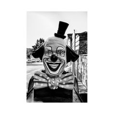 Scary Clown Print  Carnival Wall Art   Black & by GCFPhotography