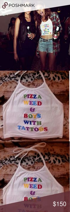 O'MIGHTY Pizza, Weed, Boys with tattoos Halter Top This O'MIGHTY Halter Top is so cute and very Rare !!  It's a Size: XS (but the size tag has been removed)  Excellent Condition,  but there are two minor flaws... loose threads, as seen in the last two pics  It's an awesome top and only worn once- O'MIGHTY Tops