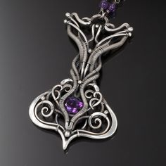 Amethyst Necklace Fine Silver Jewelry Amira by sarahndippity