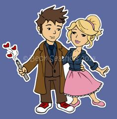 Doctor Who and Rose Cartoon Sticker by #Beckadoodles on Etsy, $1.00 #doctorwho #stickers