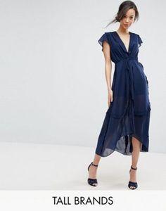 True Decadence Tall Flutter Sleeve Midi Dress With Frill Trim