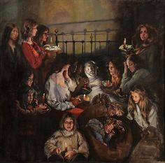 Deathbed by Robert Lenkiewicz Local Painters, Pencil Portrait, Social Issues, Death, Long Hair Styles, Bibliophile, Plymouth, Walking, Child
