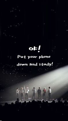 "BTS live concert wallpaper for iPhone to study with Korean hangul and English edit ""야! Put down your phone and study!"""