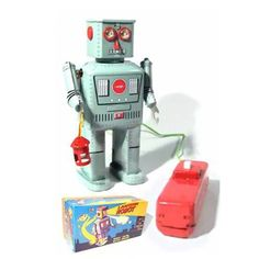 Lantern Robot Battery Tin Toy - Swinging his bright lantern, his eyes light up, he walks a few steps and then blows smoke! He is operated with a button on his wired remote that contains 2 D-Cell batteries. Vintage Robots, Retro Robot, Vintage Toys, Toy Rocket, Rocket Ships, Pop Art Poster, Hot Toys Iron Man, Robot Monster, Japanese Robot