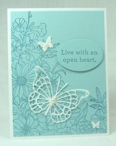 handmade card ... Corner Garden ... monochromatic aqua with tone on tone stamping ... lacy die cut butterfly .. delightful!