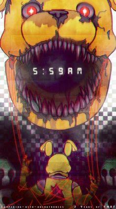 Creepy illustration of Nightmare Fredbear and Springtrap.
