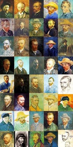 Self-Portraits / oil on pasteboard and canvas. and drawings / by Netherlands-born Post-Impressionist painter, and one of the most influential and famous figures of Western art Vincent Willem van Gogh (1853-1890)