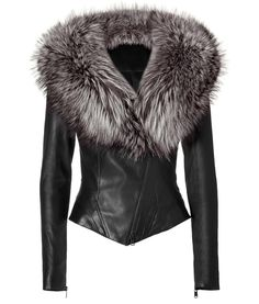Black Leather Jacket With Fur Collar by JITROIS