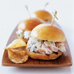 Lobster Sliders - Bar Snacks on Food & Wine. These lush, miniature takes on classic New England lobster rolls are a staple at 28 Degrees, a sleek South End lounge and restaurant, one of the few places in Boston that serves great food late at night. Wine Recipes, Great Recipes, Cooking Recipes, Favorite Recipes, Lobster Recipes, Seafood Recipes, Burger Recipes, Appetizer Recipes, Ceviche