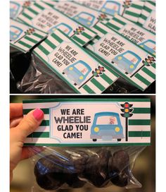 """The Busy Budgeting Mama: Car or Transportation theme favors! """"We are WHEELIE glad you came!"""" - Snack size ziplock bags filled with mini chocolate covered donuts."""