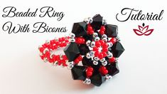 Beaded Ring with seed beads and bicones - Tutorial