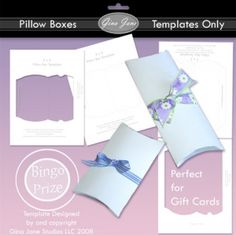 Two Pillow Box Templates - make your own printable paper pillow boxes for party favors, small gifts, gift cards, jewelry, bracelets, candy, scout awards, banquets, and more! Gina Jane Designs - DAISIE Company