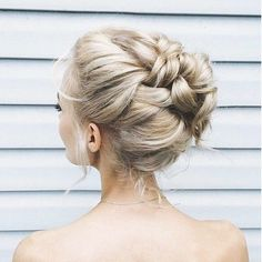 Romantic braid bun bridal hair