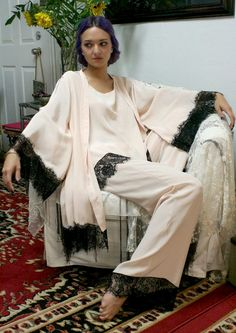 1920s silk pyjamas and robe