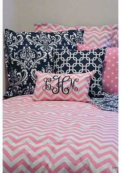 Pink & White Chevron Designer Teen & Dorm Bed in a Bag | Teen Girl Dorm Room Bedding. Designer headboard, custom pillows, exclusive bed scarf, window panels, wall art, bed skirts, duvet (twin, queen, king) and custom monogramming!! Turn your room from drab to fab!!