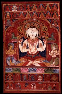 Avalokiteshvara is known as the 'Buddha of Compassion'. He usually appears as white in color with four arms. Four-Armed All-Seeing Lord Chaturbhuja Avalokiteshvara Tibet, ca. 14th century. Mineral pigments on cloth.