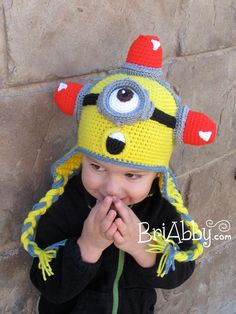 Crochet Yellow Alien Hat with Goggles and Sirens by BriAbbyHMA, $50.00