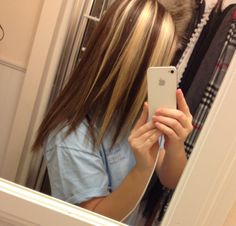 Brown hair with blonde chunky highlights