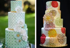 Patterned wedding cakes! The Ally Way | an event design & coordination company
