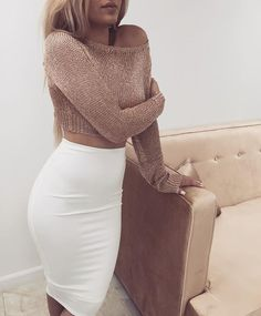 Gold Metallic Blouse  White Pencil Skirt