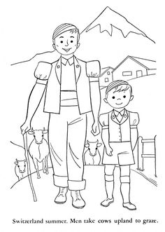 Children of Other Lands, 1954 — France, Switzerland, Italy, Germany Free Kids Coloring Pages, Coloring Sheets For Kids, Printable Coloring Sheets, Coloring Books, World Thinking Day, Girl Scout Juniors, Europe Continent, International Day, Swiss Family Robinson