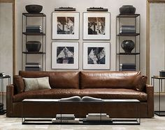 Another GLAMasculine living room from Restoration Hardware. | japanesetrash.com #LeatherSofa