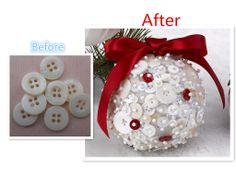 Lovely Button Ball. #Christmas gift. Christmas Crafts For Gifts, Craft Gifts, Christmas Decorations, Crafts To Make, Diy Crafts, Kissing Ball, Cool Buttons, Ornament Wreath, Projects To Try