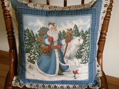 Christmas Gift Victorian Santa Claus Pillow Decor by mariafiggins, $51.25 #Santa_Claus #Santa #Christmas