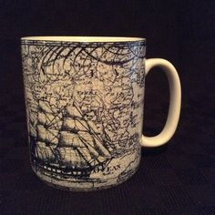 Large Oversized 222 Fifth Due North Blue Ship World Ceramic Coffee Cup Mug #222Fifth
