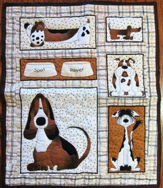 """My quilt on Etsy - Dog Quilt, Puppy Quilt, Doggy 20"""" x 24"""" (29) Cotton Fabric & Non-allergenic Polyester batting via Etsy"""