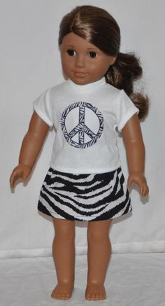 "American Made Doll Clothes For 18"" Girl Dolls White Zebra Peace Top Skirt Set #DollClothesByChun"