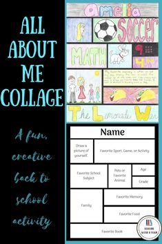 """ALL ABOUT ME COLLAGE This """"all about me"""" writing and art activity is the perfect, creative, and engaging back to school project. This """"about me"""" activity is s All About Me Activities, First Day Of School Activities, Writing Activities, Classroom Activities, Back To School Art Activity, Back To School Worksheets, September Activities, First Week Of School Ideas, Beginning Of The School Year"""