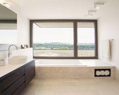 Object 340 - combination of quality and comfort by meier architekten… Drop In Tub, Travertine Floors, Wall Lights, Ceiling Lights, Vessel Sink, Design Case, Corner Bathtub, Modern Bathroom, Cube