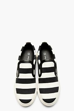 MOTHER OF PEARL Black & White Striped Leather Trim Slip-On Sneakers