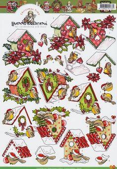 3D Knipvel Yvonne Creations - Kerst Vogelhuisjes - Carddeco - CD10175
