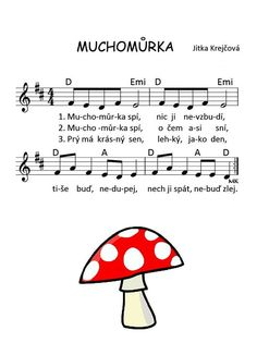 Muchomůrka Music Do, Ukulele Songs, Andreas, Kids Songs, Excercise, Sheet Music, Crafts For Kids, Kindergarten, Preschool