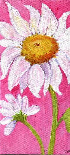 Shasta Daisies Painting on Pink Original on by SharonFosterArt, $25.00