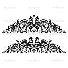 Польский длинные цветочные народного искусства вышивки, с петухи - wzory lowickie — Стоковая иллюстрация #51116017