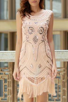 Tassels Sequin Beaded Round Neck Sleeveless Dress APRICOT: Dresses 2016 | ZAFUL