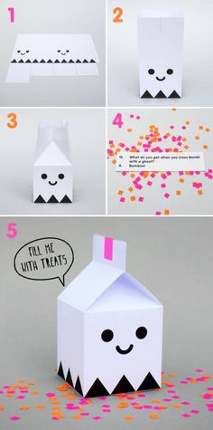 Halloween Projects Free Halloween printable ghost treat boxes from Minieco - so fun!Free Halloween printable ghost treat boxes from Minieco - so fun! Diy Halloween, Halloween Treat Boxes, Halloween Paper Crafts, Halloween Printable, Diy Y Manualidades, Manualidades Halloween, Printable Box, Free Printables, Origami