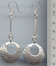 Thai Karen Silver  Dew Drop With Hanging Stick Earrings ER046