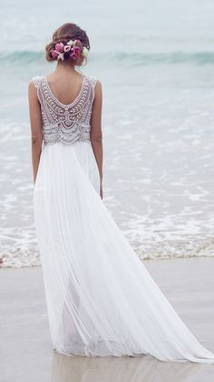 Boho Beach Beaded Wedding Dresses 2016 Les Robes Mariage Anna Campbell Beading Bohemian Bride Dress Vestido de Novia Playa 2015