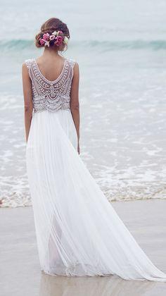 Boho Beach Beaded Wedding Dresses 2016 Les Robes Mariage Anna Campbell Beading Bohemian Bride Dress Vestido de Novia Playa 2015